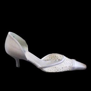 Stuart Weitzman Silver Satin Heels 8.5 / New